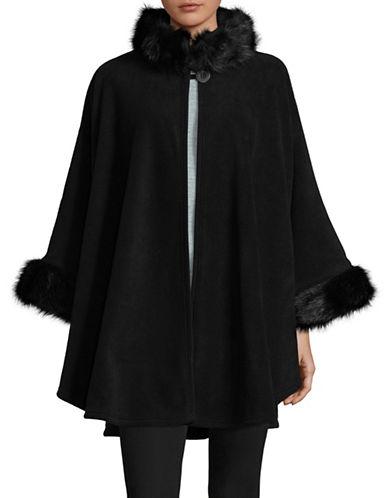 Parkhurst Desdemona Cape with Faux Fur Trim-BLACK-One Size
