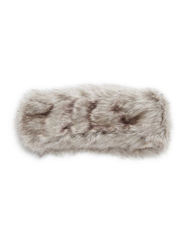 Parkhurst Arctic Leopard Faux Fur Headband-BROWN-One Size