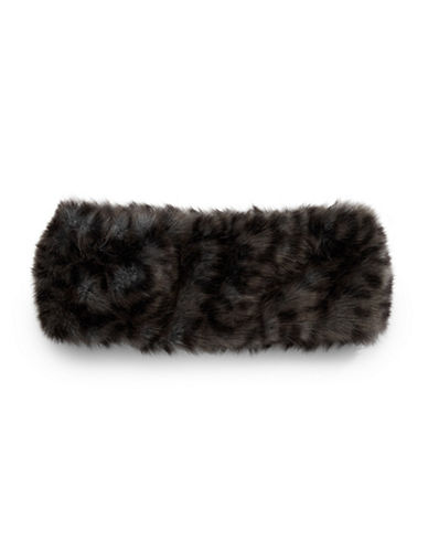 Parkhurst Arctic Leopard Faux Fur Headband-CHARCOAL CHEETAH-One Size