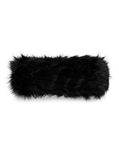 Parkhurst Arctic Leopard Faux Fur Headband-BLACK MINK-One Size