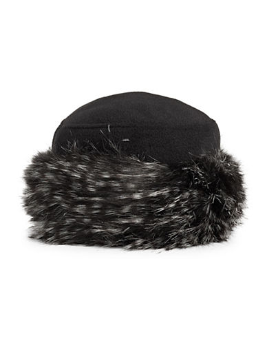 Parkhurst Faux Fur Trim Hat-BLACK-One Size