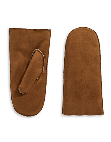 Parkhurst Faux Shearling Mittens-BROWN-One Size