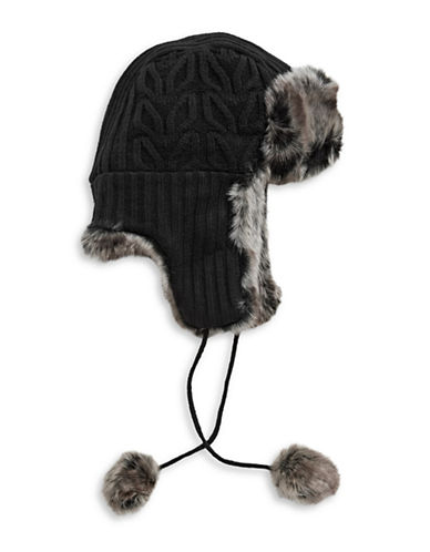 Parkhurst Reversible Faux Fur Trapper Hat-BLACK-One Size
