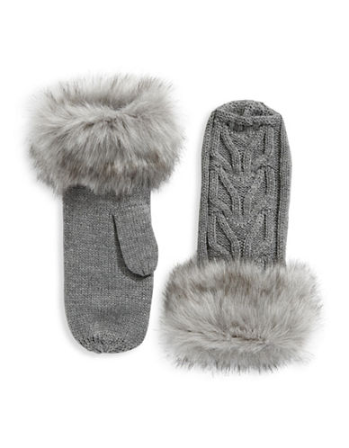 Parkhurst Faux-Fur Cuffed Wool Mittens-GREY-One Size