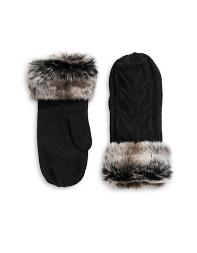 Parkhurst Faux-Fur Cuffed Wool Mittens-BLACK-One Size