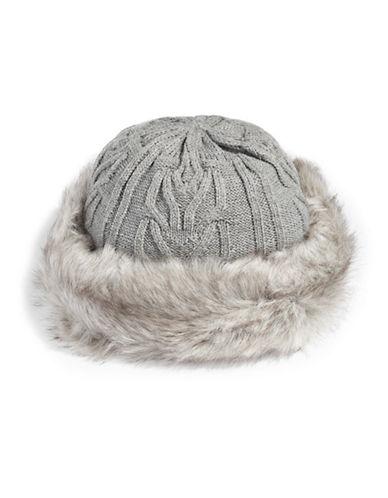Parkhurst Textured Faux-Fur Trim Hat-GREY/GRANITE-One Size