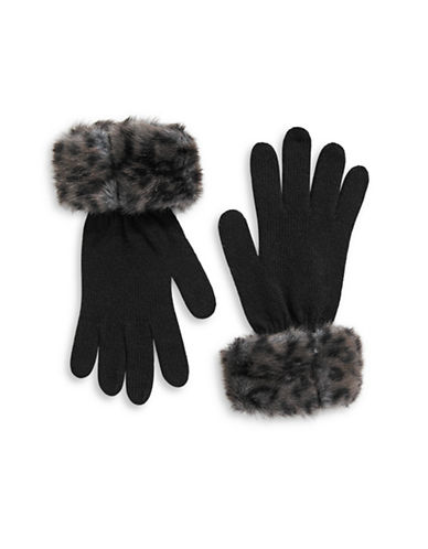 Parkhurst Faux-Fur Cuffed Wool Gloves-CHEETAH-One Size