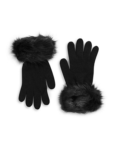 Parkhurst Faux-Fur Cuffed Wool Gloves-BLACK-One Size