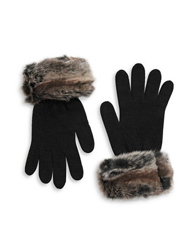 Parkhurst Faux-Fur Cuffed Wool Gloves-BROWN-One Size