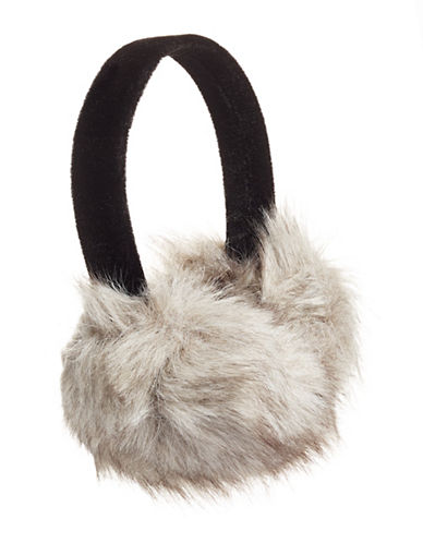Parkhurst Floral and Faux Fur Ear Muffs-GRANITE-One Size