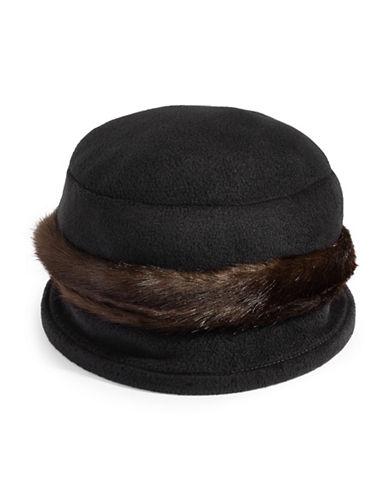 Parkhurst Faux Fur Trim Cloche Hat-BLACK-One Size