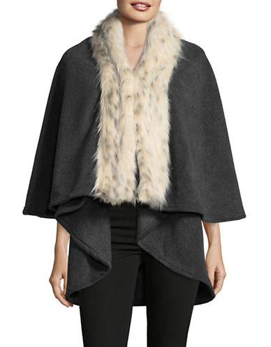 Parkhurst Giselle Layered Cape with Faux Fur Trim-CHARCOAL/ARCTIC LEOPARD-One Size