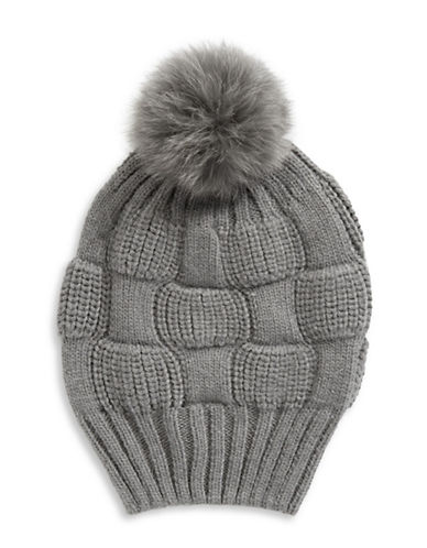 Parkhurst Fox Fur Pom-Pom Beanie-GREY-One Size