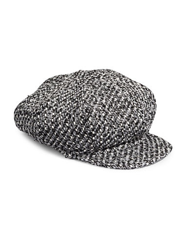 Parkhurst Textured Poor Newsboy Hat-BLACK CHECK-One Size