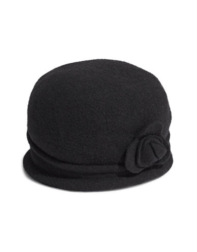 Parkhurst Spencer Wool Cloche Hat-BLACK-One Size