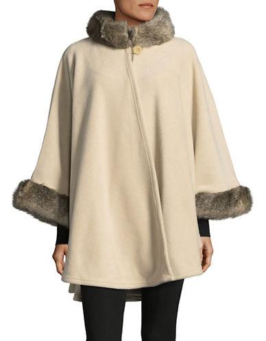 Parkhurst Desdemona Cape with Faux Fur Trim-CAMEL/ARCTIC-One Size