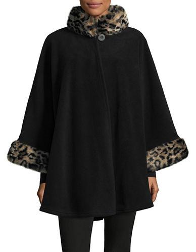 Parkhurst Desdemona Cape with Faux Fur Trim-BLACK/CHEETAH-One Size
