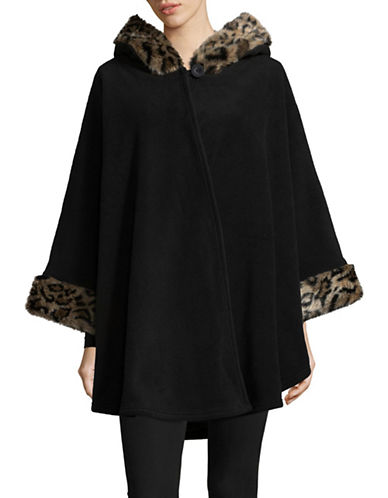 Parkhurst Helena Faux Fur-Trimmed Hooded Cape-BLACK LEOPARD-One Size