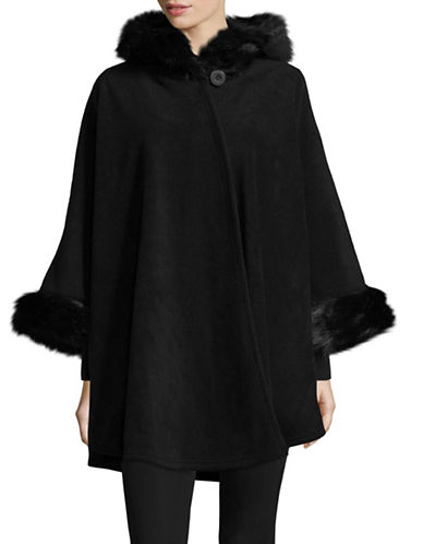 Parkhurst Helena Faux Fur-Trimmed Hooded Cape-BLACK-One Size
