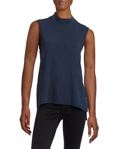 Stateside Gauze Mock Neck Tank Top-NAVY-Small