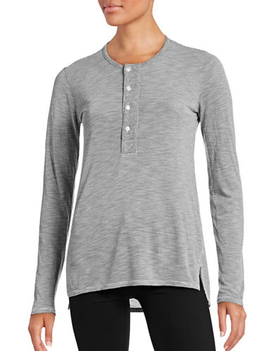 Stateside Striped Vented Henley T-Shirt-GREY-Large 88627875_GREY_Large