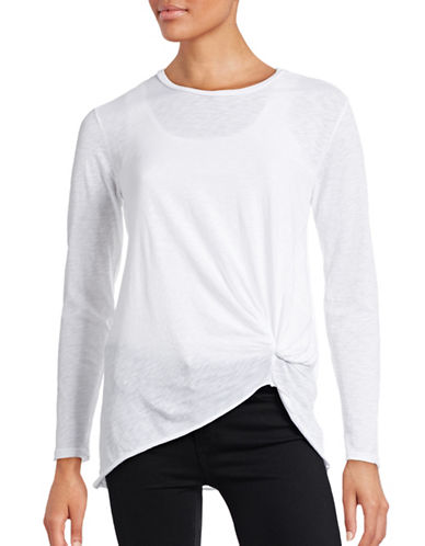 Stateside Long Sleeve Knot Front T-Shirt-WHITE-Small 88721532_WHITE_Small