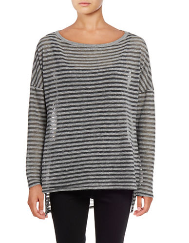 Stateside Burnout Stripe Hi-Lo Top-GREY-X-Small