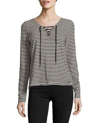 Philanthropy Marcel Striped Lace-Up Top-BLACK-Small