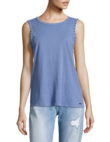Philanthropy Spike Studded Tee-BLUE-Large