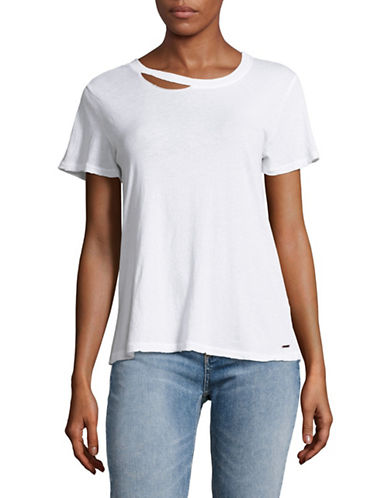 Philanthropy Harlow Distressed T-Shirt-WHITE-Small 89095072_WHITE_Small