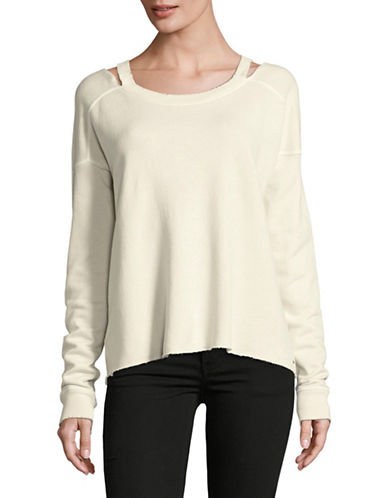 Philanthropy Cold-Shoulder Terry Sweater-WHITE-Small