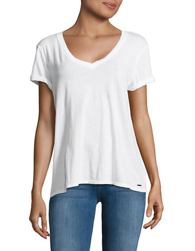 Philanthropy Esme Boyfriend V-Neck T-Shirt-WHITE-Medium