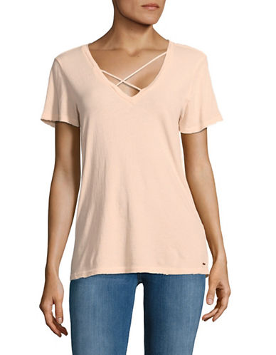 Philanthropy Robbie V Neck Tee-PINK-Medium