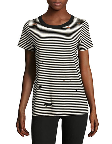 Philanthropy Fox Distressed Stripe Tee-MULTI-X-Small