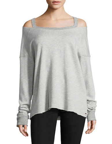 Philanthropy Cold-Shoulder Terry Sweater-GREY-Large