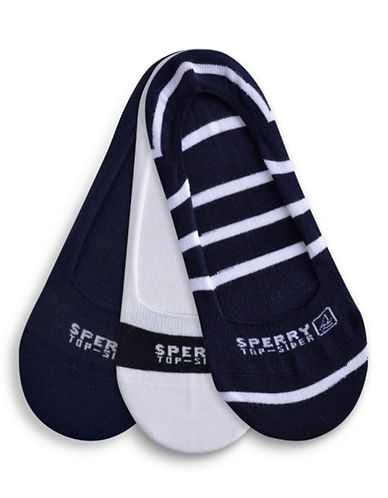 Sperry Three-Pack Striped Liners-BLUE-One Size