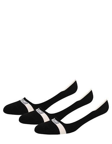 Sperry Mens Three-Pack Signature Liner Socks-BLACK-10