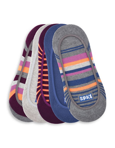 Keds Five-Pack Assorted Striped Sock Liners Set-MULTI-One Size