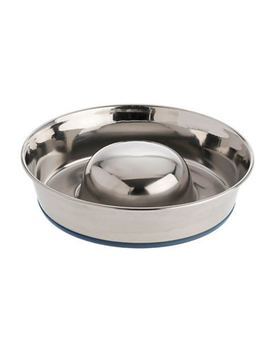 Our Pets Stainless Steel Slow Feed Dog Bowl-STAINLESS STEEL-Medium