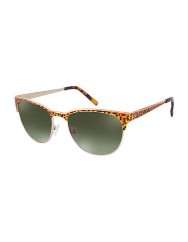 Vince Camuto VC646 54mm Round Sunglasses-GOLD LEOPARD-One Size