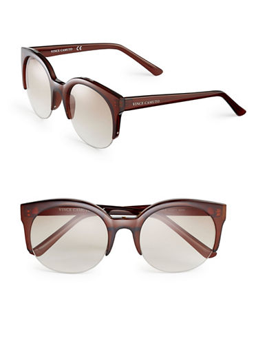 Vince Camuto VC671 Semi-Rimless Sunglasses-BROWN-One Size