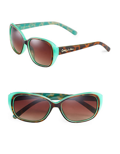 Circus By Sam Edelman CC110 Contrast Oval Sunglasses-TORTOISE/TURQUOISE-One Size