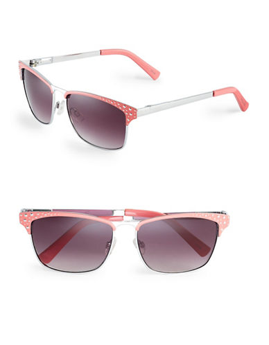 Circus By Sam Edelman CC172 Dotted Enamel Square Sunglasses-SILVER/CORAL-One Size