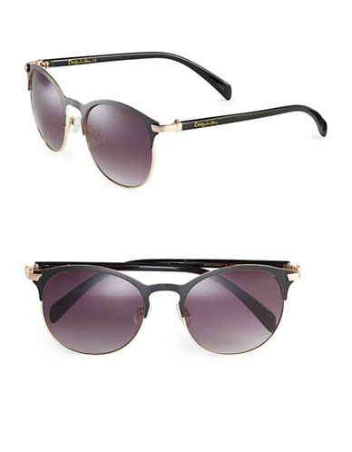 Circus By Sam Edelman CC174 Enamel Round Sunglasses-GOLD/BLACK-One Size