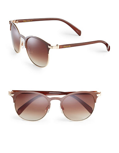 Circus By Sam Edelman CC174 Enamel Round Sunglasses-GOLD/BROWN-One Size