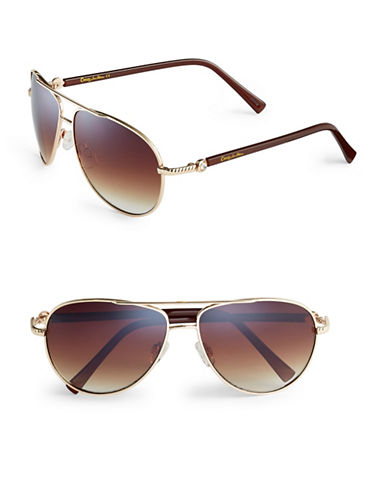 Circus By Sam Edelman CC176 Combo Aviator Sunglasses-GOLD/BROWN-One Size