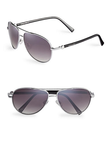 Circus By Sam Edelman CC176 Combo Aviator Sunglasses-SILVER/BLACK-One Size