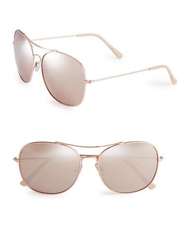 Circus By Sam Edelman CC180 58mm Square Aviator Sunglasses-ROSE GOLD/NUDE-One Size