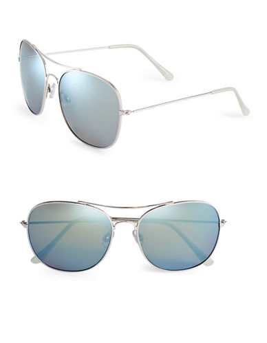 Circus By Sam Edelman CC180 58mm Square Aviator Sunglasses-SILVERY/BLUE-One Size