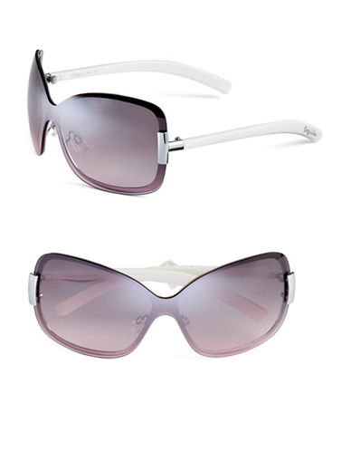 Circus By Sam Edelman CC201 Butterfly Shield Sunglasses-WHITE/SILVER-One Size